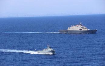 Buque estadounidense Wichita realiza un ejercicio bilateral con la Armada de la República Dominicana
